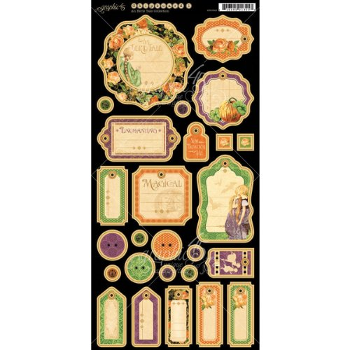 Graphic 45 An Eerie Tale Journaling - Adhesive Chipboard Tags