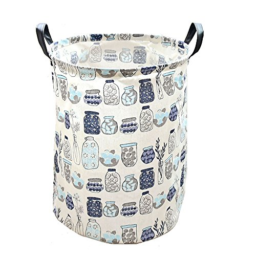 DuShow Snack Basket/Toy Storage basket/Dirty Clothing Basket With Leather handle for Nurseries/Babies/Kids/ Home/ Children/ Books /Dog Supplies/Playrooms/Bookshelves (Bottle) (Wicker Bookshelves)