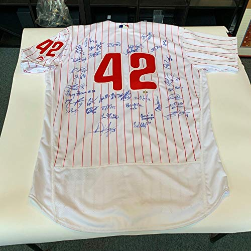(2016 Philadelphia Phillies Team Signed Jackie Robinson Day Jersey MLB Authentic - Autographed MLB Jerseys)