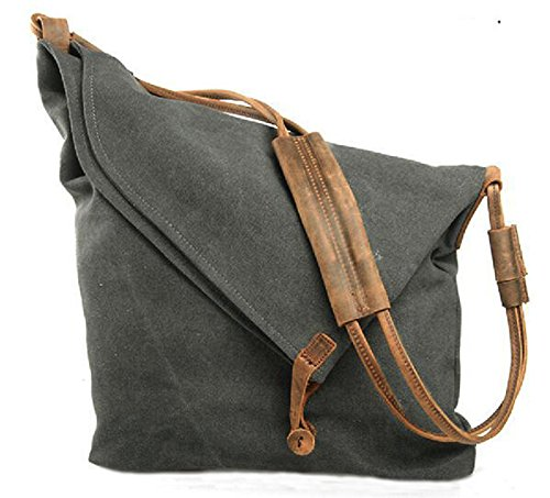 FXTXYMX Hobo Bags Canvas Cross Body Messenger Bags Handbag Totes Shoulder Purse Fold Over Bag for Men and Women (Deep Gray)