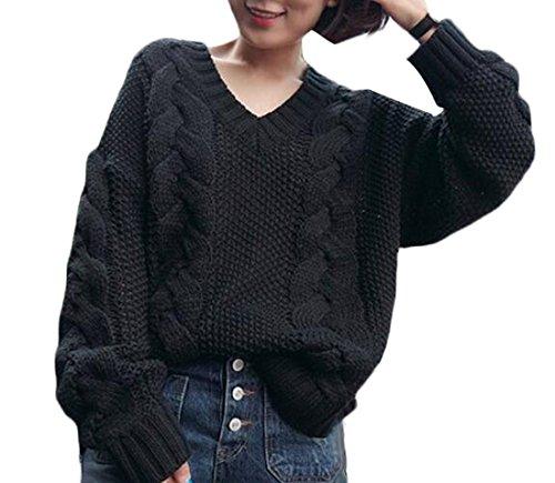 WANSHIYISHE-Womens-Winter-Thicken-Loose-Solid-Hemp-Sweater-Pullover