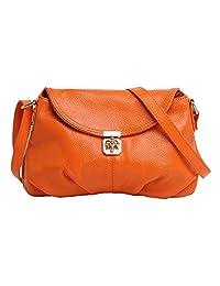 SAIERLONG Women's Tote Single Shoulder Bag Handbag Orange Cow Leather