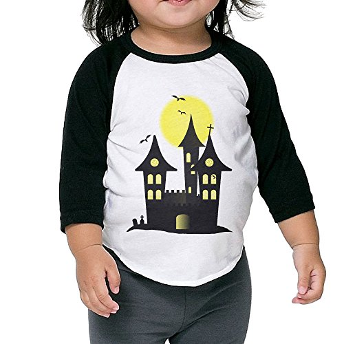 Customized Graphic Cute-halloween Toddler Tees 3/4 Sleeves Crew Neck Cotton Soft And Cozy Black Size 2 Toddler ()
