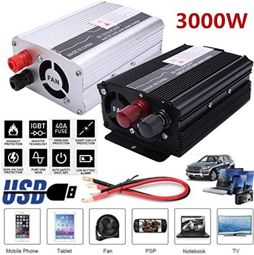 Leaftree Car Power Inverter,3000W Peak Dc 12V To Ac220V//110V Ac Solar Power Inverter Converter Usb Output For Car Inverter-12V To 220V; Silver