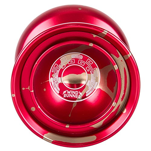 Duncan Toys Windrunner Yo-Yo [Red with Gold Splash] - Pro Level Aluminum Yo-Yo with Double Rim, Concave Bearing, SG Sticker - Duncan Metal