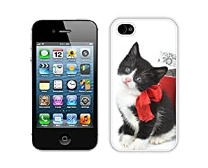 Provide Personalized Customized Black White Christmas Cat With Red Bowknot Iphone 4s,Apple Iphone 4s White TPU Cover Case