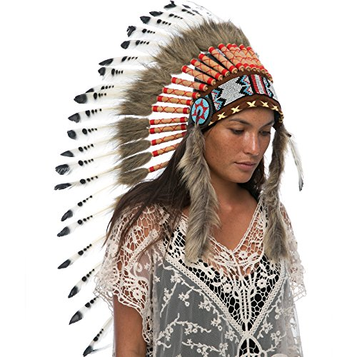 Long Feather Headdress- Native American Indian Inspired- Handmade by Artisan Halloween Costume for Men Women - Real Feathers - Black & White Duck ()