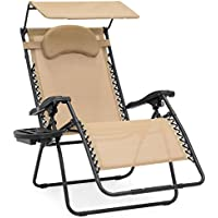 Oversized Zero Gravity Chair with Folding Canopy Shade Cup Holder (Multiple Colors)