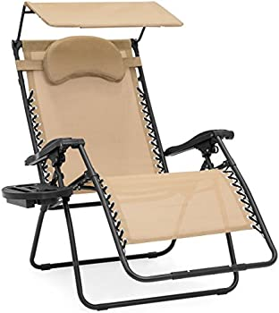 Oversized Zero Gravity Chair with Folding Canopy Shade Cup Holder