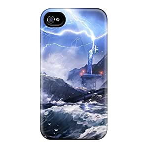 Rugged Skin Case Cover For Iphone 4/4s- Eco-friendly Packaging(lost Planet 2 Storm)
