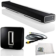 SONOS PLAYBAR TV Sound Bar/Wireless Streaming Music Speaker + SONOS SUB Wireless Subwoofer + 12 Feet Digital Optical Audio Toslink Cable + Microfiber Cleaning Cloth