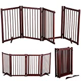 Topeakmart Free Standing Wood Dog Gate with Walk Through Door, Foldable 81.7x30.1''