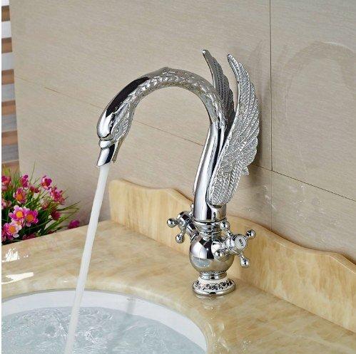 Gowe Newly Contemporary Chorme Polish Basin Faucet Bathroom Sink Tap Double Handles Mixer Faucet 2