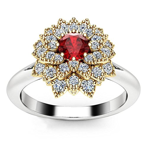 (SMALLE◕‿◕ Clearance,Exquisite Women's Two Tone Silver Floral Ring Round Diamond Flower Jewely)