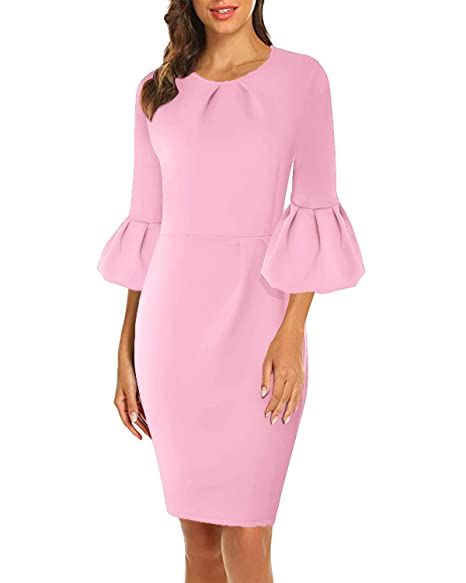 ddcaa371b16c5 VIUVIU Womens Flounce Bell Sleeve Pleated Cocktail Bodycon Dress Office  Work Casual Pencil Party Dresses