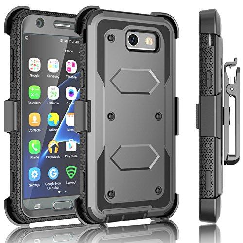 J3 Emerge / J3 Prime Case, Samsung Galaxy J3 Mission / J3 Eclipse / Express Prime 2/ Amp Prime 2/ J3 Luna Pro Holster Clip, Tekcoo [TShell] [Gray] Locking Belt Swivel [Built-in Screen] Kickstand Cover