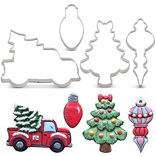 LILIAO Christmas Cookie Cutter Set  4 Piece  Pickup Truck with Christmas Tree Christmas Tree with Bow Light Bulb and Christmas Ornament Biscuit Fondant Cutters  Stainless Steel