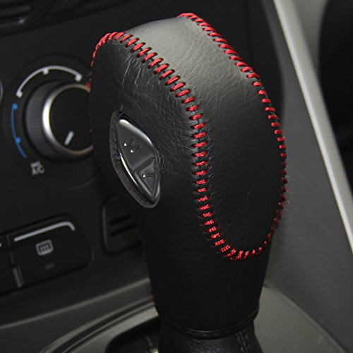 Loncky Genuine Leather Gear Shift Knob Cover for 2012-2016 Ford Focus /2014-2016 Ford Fiesta /2013-2016 Fusion S,Ford Fusion SE /2013-2016 Ford Escape/2013-2016 Ford C-Max /2013-2016 Transit -