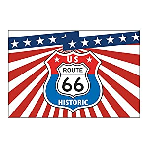Drapeau Fanion USA Route 66 coutures renforcées - Flag pour motos custom - Harley - Trikes ...