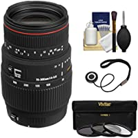 Sigma 70-300mm f/4-5.6 APO DG Macro Zoom Lens with 3 Filters Kit for Canon EOS 6D, 70D, 7D, 5DS, 5D Mark II III, Rebel T5, T5i, T6i, T6s, SL1 Camera