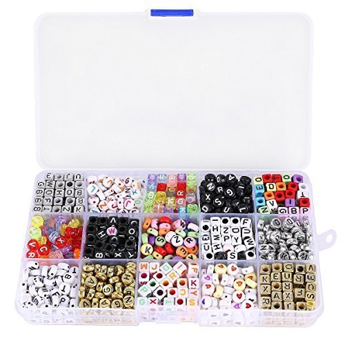 NUOLUX Mixed Acrylic Alphabet Letters Beads Cube Charms for DIY Loom Bands Bracelets ()