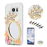 STENES Galaxy S9 Plus Case - Stylish - 100+ Bling - 3D Handmade Crown Girls Mirror Butterfly Rose Flowers Design Bling Cover Case with Screen Protector for Samsung Galaxy S9 Plus - Pink