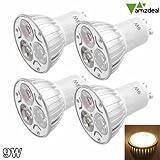 amzdeal® Pack of 4 Pcs 9W GU10 Warm White LED Spotlight Light Buld Lamp Set, AC 85-265V, 70 Watt Incandescent Equivalent, Ultra Bright