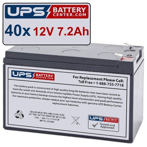 Exl Set - (40) 12V 7.2Ah F2 - Compatible Battery Set for MGE Pulsar EXL 10kVA by UPSBatteryCenter