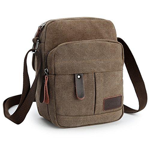 Zicac Men's Small Canvas Shoulder Bag Briefcase Messenger Bags Satchel (Coffee) by Zicac