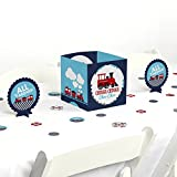 Big Dot of Happiness Railroad Party Crossing - Steam Train Birthday Party or Baby Shower Centerpiece & Table Decoration Kit
