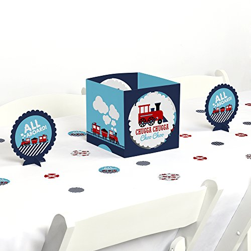 Big Dot of Happiness Railroad Party Crossing - Steam Train Birthday Party or Baby Shower Centerpiece & Table Decoration (Train Centerpieces)
