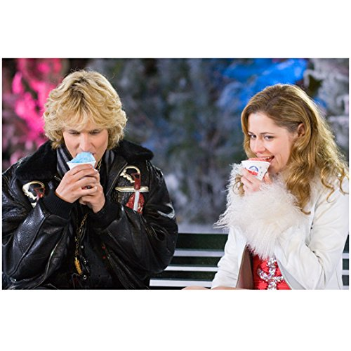 Blades of Glory Jon Heder as Jimmy MacElroy with Jenna Fischer as Katie Van Waldenberg eating snowcones 8 x 10 Inch Photo -