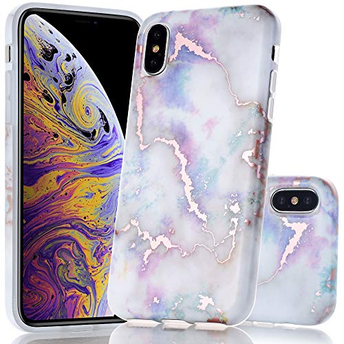 BAISRKE Shiny Rose Gold Metallic White Marble Design Clear Bumper Glossy TPU Soft Rubber Silicone Cover Phone Case Compatible with iPhone X iPhone Xs 5.8 inch - Colourful