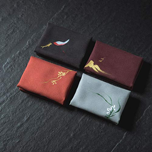 WEEFORT Chinese Style Double-Faced Velvet Microfiber Tea Towel Embroidery Hand-Painted Cloth Napkin Washable Placemat