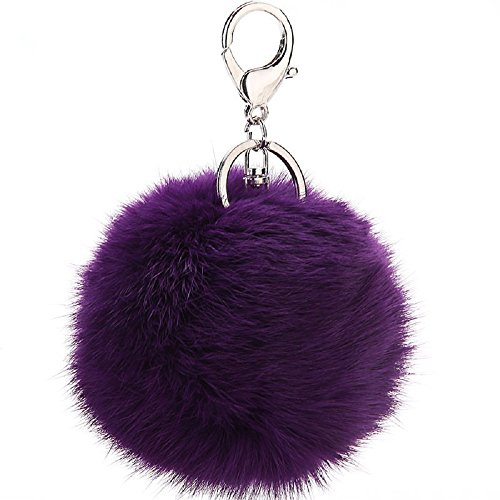 CHMING Cute Genuine Rabbit Fur Ball Pom Pom Keychain for Car Key Ring Handbag Tote Bag Pendant ()