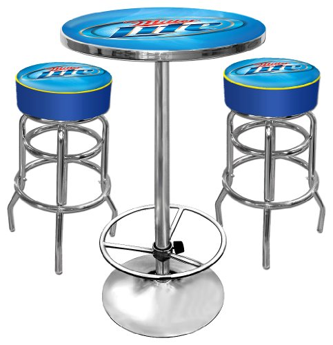 Miller Lite Ultimate Gameroom Combo – 2 Bar Stools & Pub Table