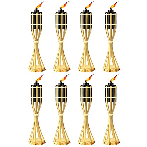 Bamboo Tiki Torches - 8 Pack - Metal Oil Canister - 14in High, 6oz. Capacity - Sturdy Table Torch by Kaya Collection -