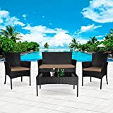Cloud Mountain 4 PC Patio PE Rattan Wicker Furniture Set Backyard Sectional Furniture Set Outdoor Patio Garden Sofa Set, Black Rattan Khaki Cushions