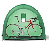 Portable Weatherproof Pop Up Bike Storage Tent with Travel Tote Bag| Instant Polyester Bicycle Touring Tent and Utility Storage Organizer for Camping | Backyards | Tours - Bike Shed (Green)