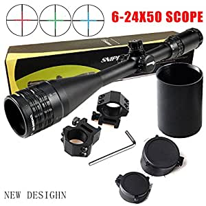 FSI Sniper 6-24x50mm Scope W front AO adjustment. Red/Blue/green mil-dot reticle. Comes with extended sunshade and Heavy Duty Ring Mount