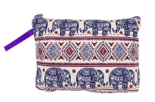 Blue-Mango Bag Elephant Canvas Thailand Accessories Unique Handmade (Blue & Red) Cosmetic Makeup Pencil Pen Case Pouch.