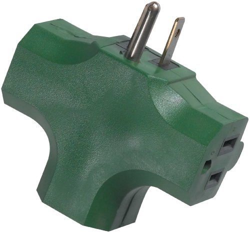 Woods 0794GB Wall Tap Power Adapter, 3-Outlet, - Tap Green