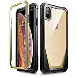 """iPhone Xs Max Case, Poetic Guardian [Scratch Resistant Back] Full-Body Rugged Clear Hybrid Bumper Case with Built-in-Screen Protector for Apple iPhone Xs Max 6.5"""" OLED Display - Gold"""
