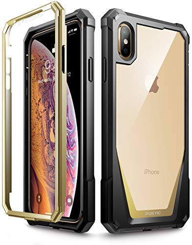 iPhone Xs Max Case, Poetic Guardian [Scratch Resistant Back] Full-Body Rugged Clear Hybrid Bumper Case with Built-in-Screen Protector for Apple iPhone Xs Max 6.5 OLED Display - Gold