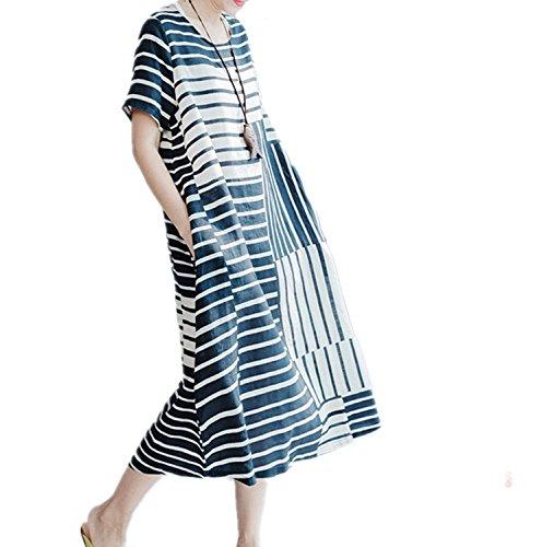 Linen Striped Dress - 8