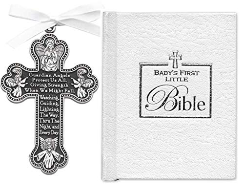 BABY'S Gift Set - First Little Bible & CRIB CROSS - BOY or Girl - Gender Neutral - Bless This Child - BAPTISM Christening BOXED WHITE -