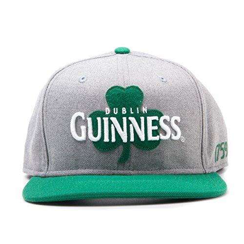 Guinness Clover - Guinness Dublin Shamrock Snapback Baseball Cap (Grey/ Green)