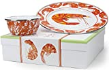 Enamelware - Shrimp Pattern - 2-Piece Giftboxed Set with 12.5 Inch Plate and 3 Cup Bowl