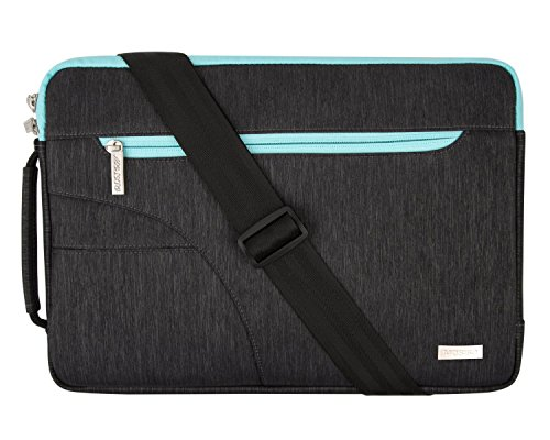 MOSISO Laptop Shoulder Bag Compatible 15-15.6 Inch MacBook Pro, Ultrabook Netbook Tablet, Polyester Ultraportable Protective Briefcase Carrying Handbag Sleeve Case Cover, Black & Hot Blue