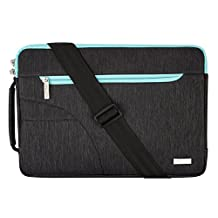 Mosiso Polyester Fabric Sleeve Case Cover Laptop Shoulder Briefcase Bag for 15-15.6 Inch MacBook Pro, Ultrabook Netbook Tablet, Black&Hot Blue